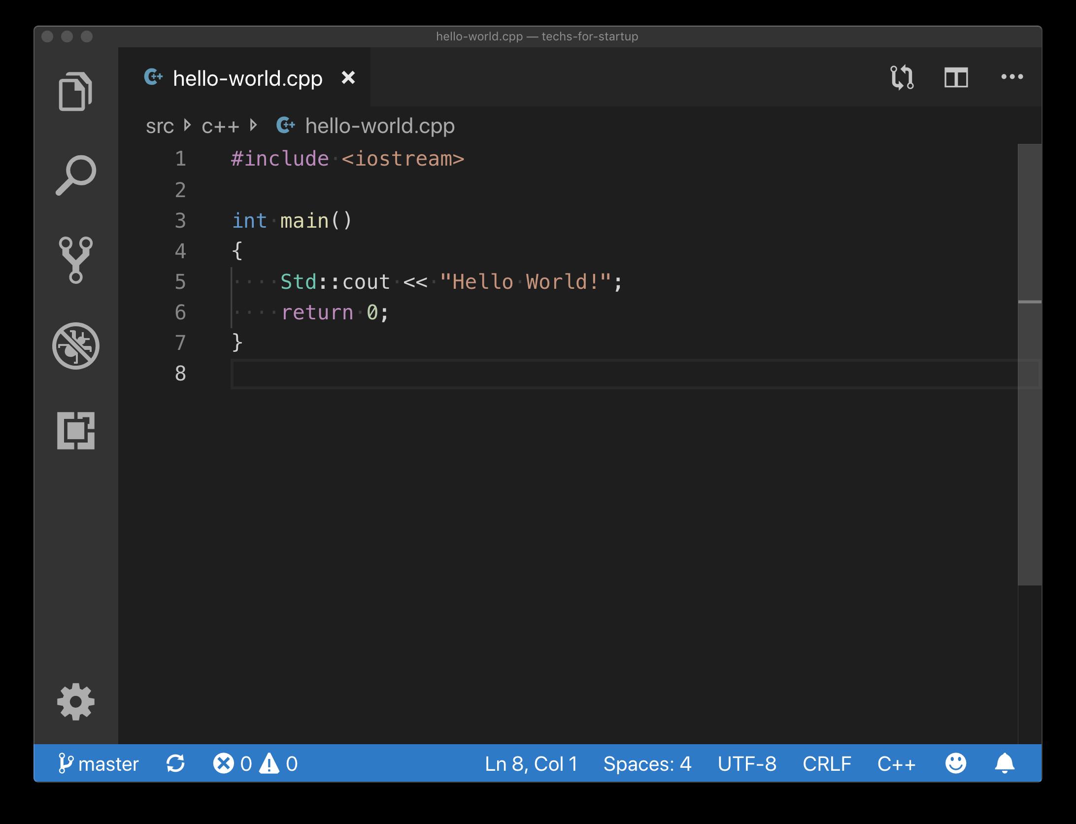 C++ Hello World Example