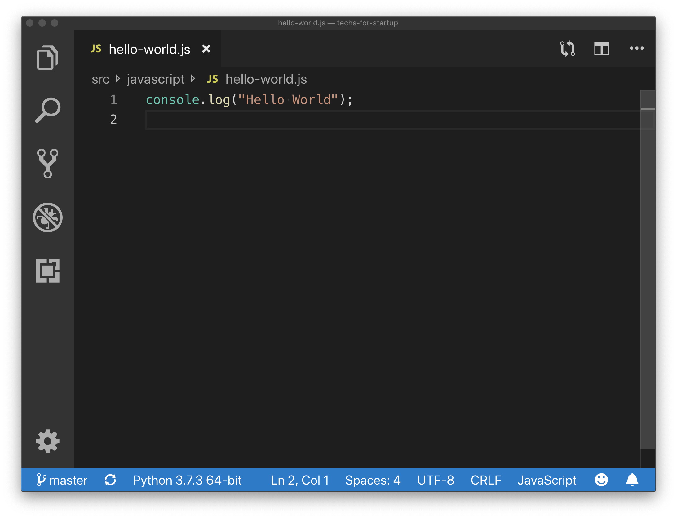 JavaScript Hello World Example