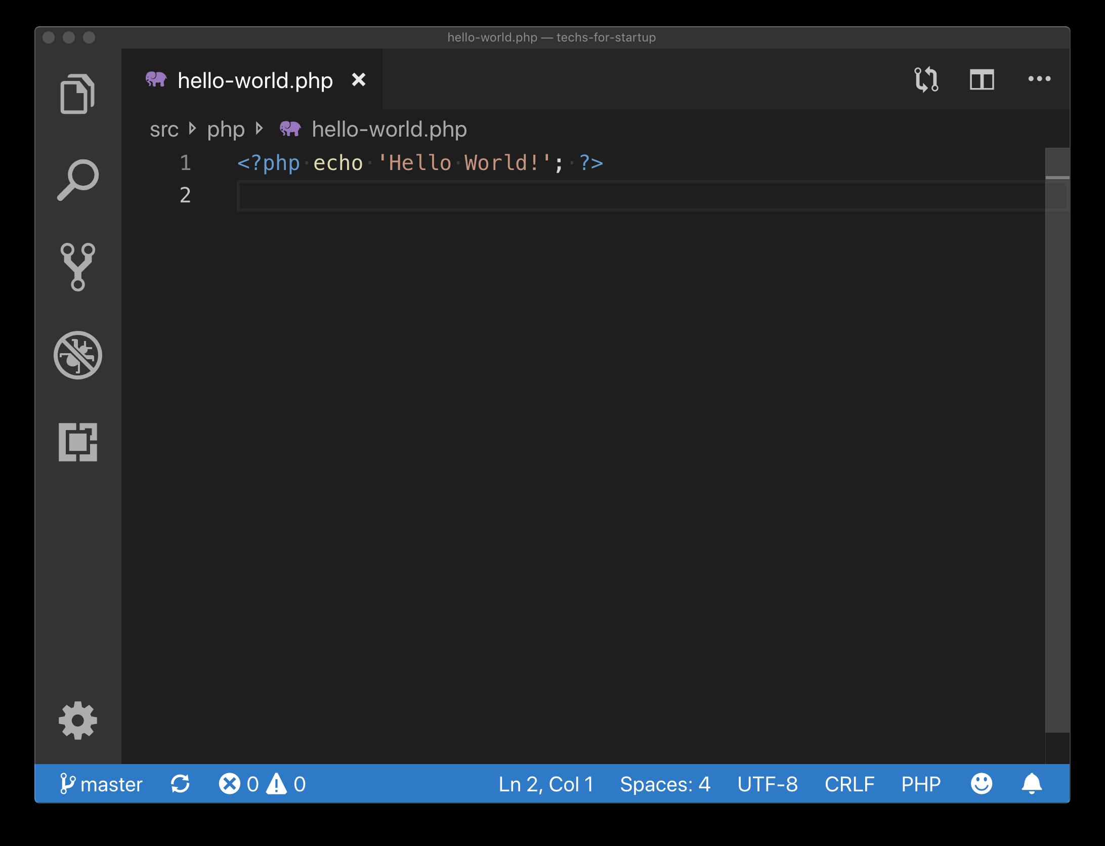 PHP Hello World Example