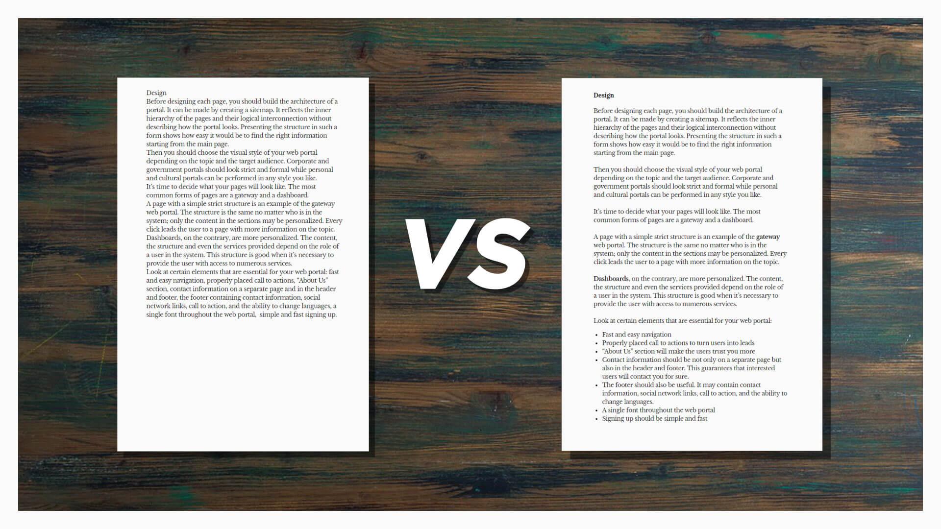 Comparison of Good VS Bad Text