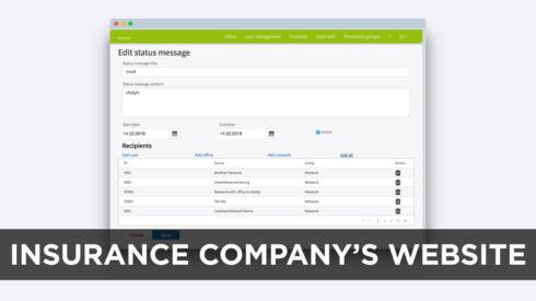 Insurance company's website