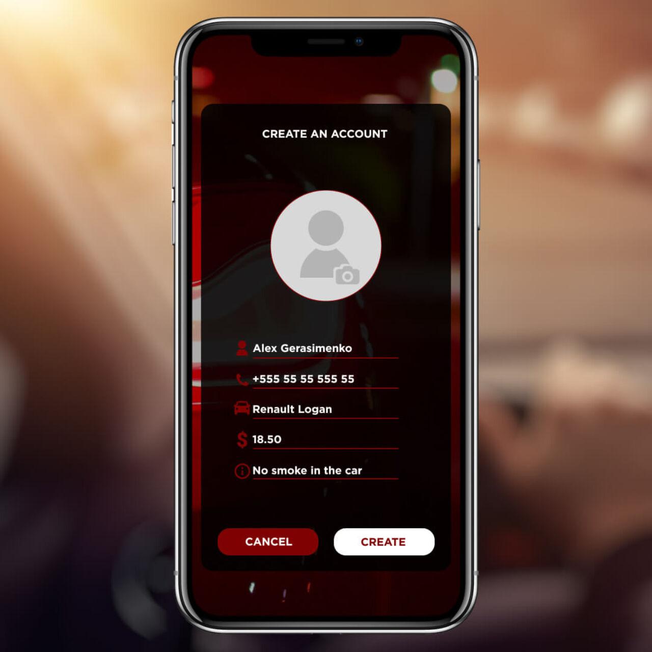 Ride App - Personal profile