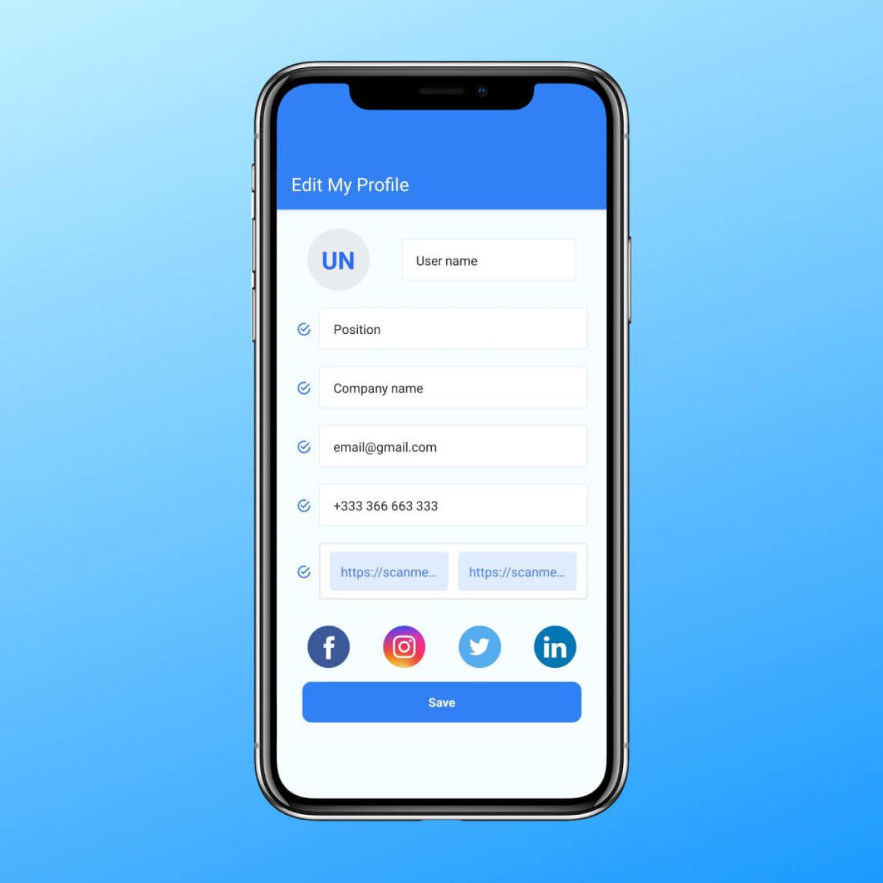Business card scanner app - Profile