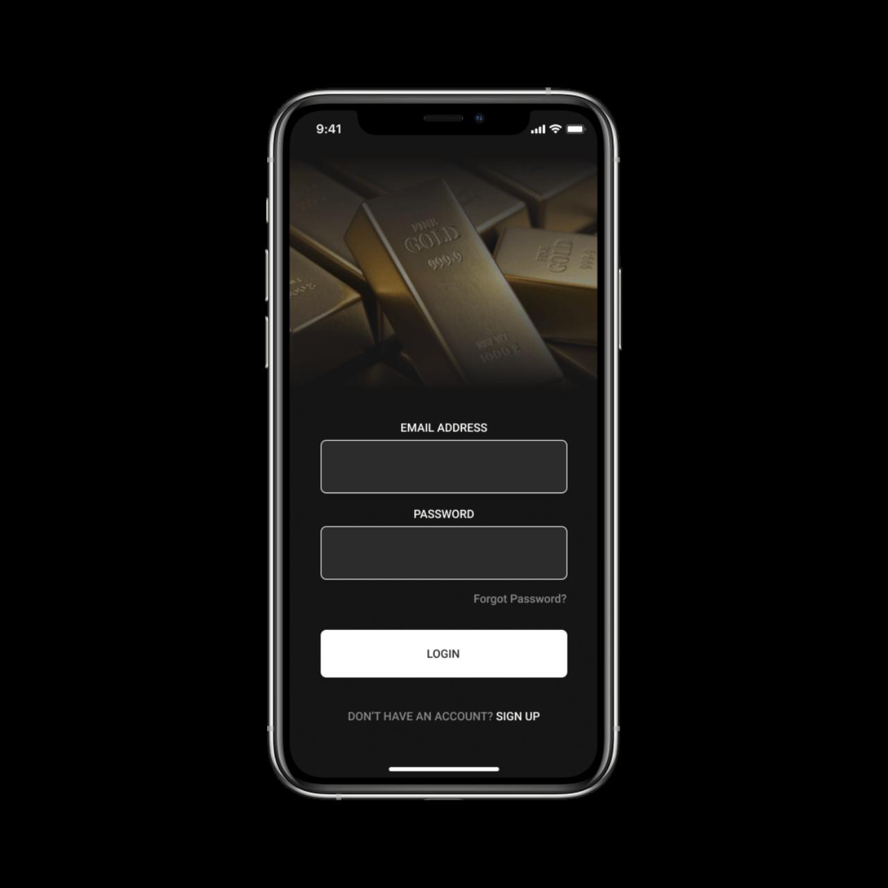 Precious Metals Trading Platform Login Screen