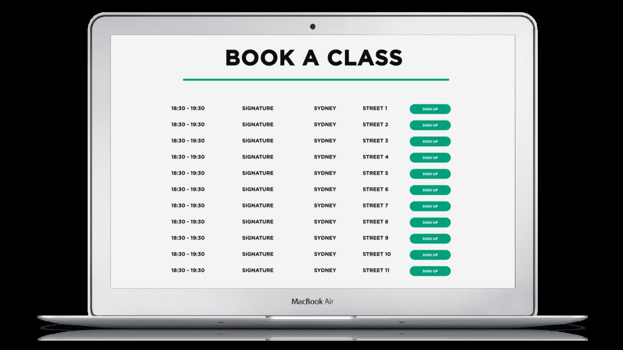On-demand fitness platform - Book a class