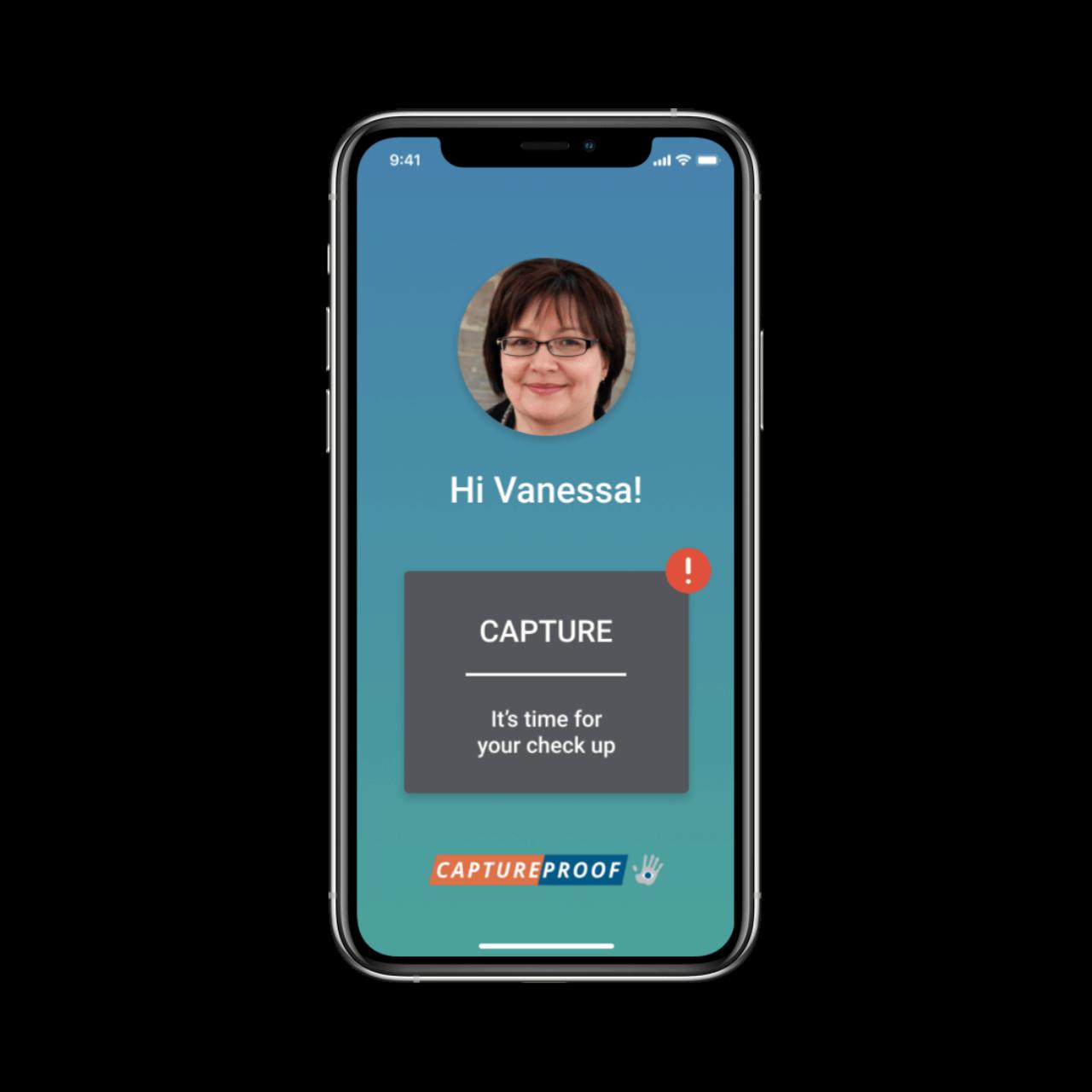 CAPTUREPROOF Telemedicine App Greeting Screen