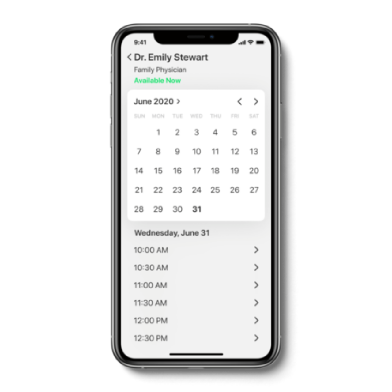 Medical Services App Calendar