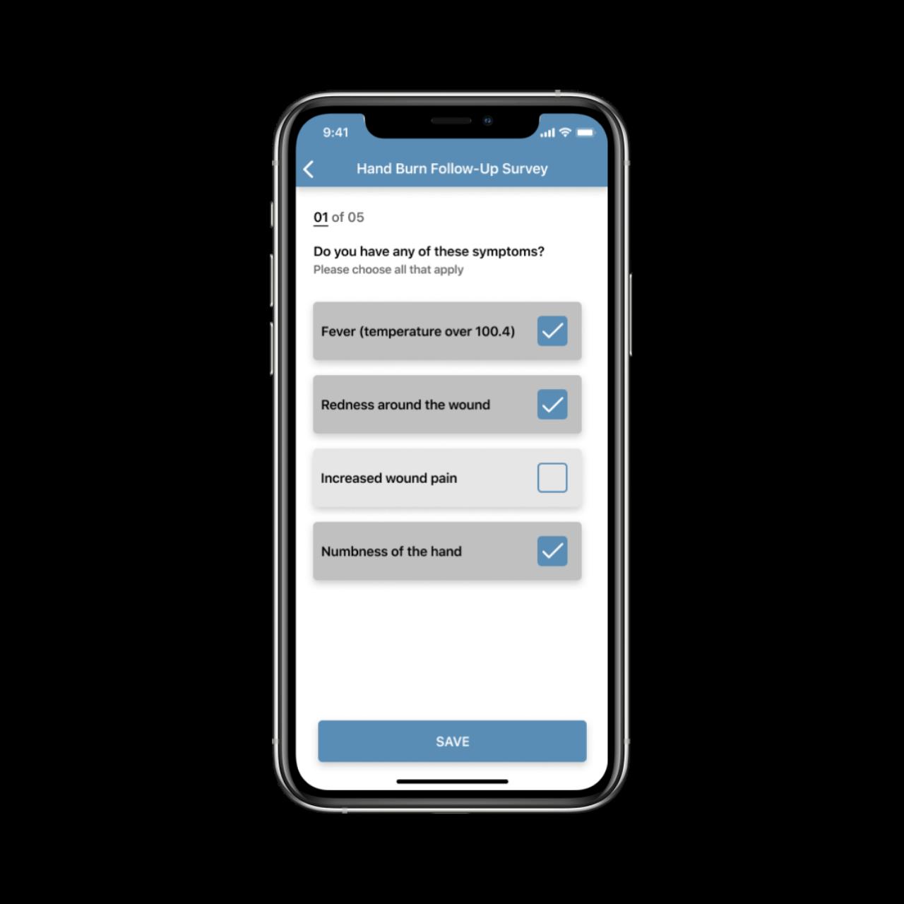CAPTUREPROOF Telemedicine App Survey Screen