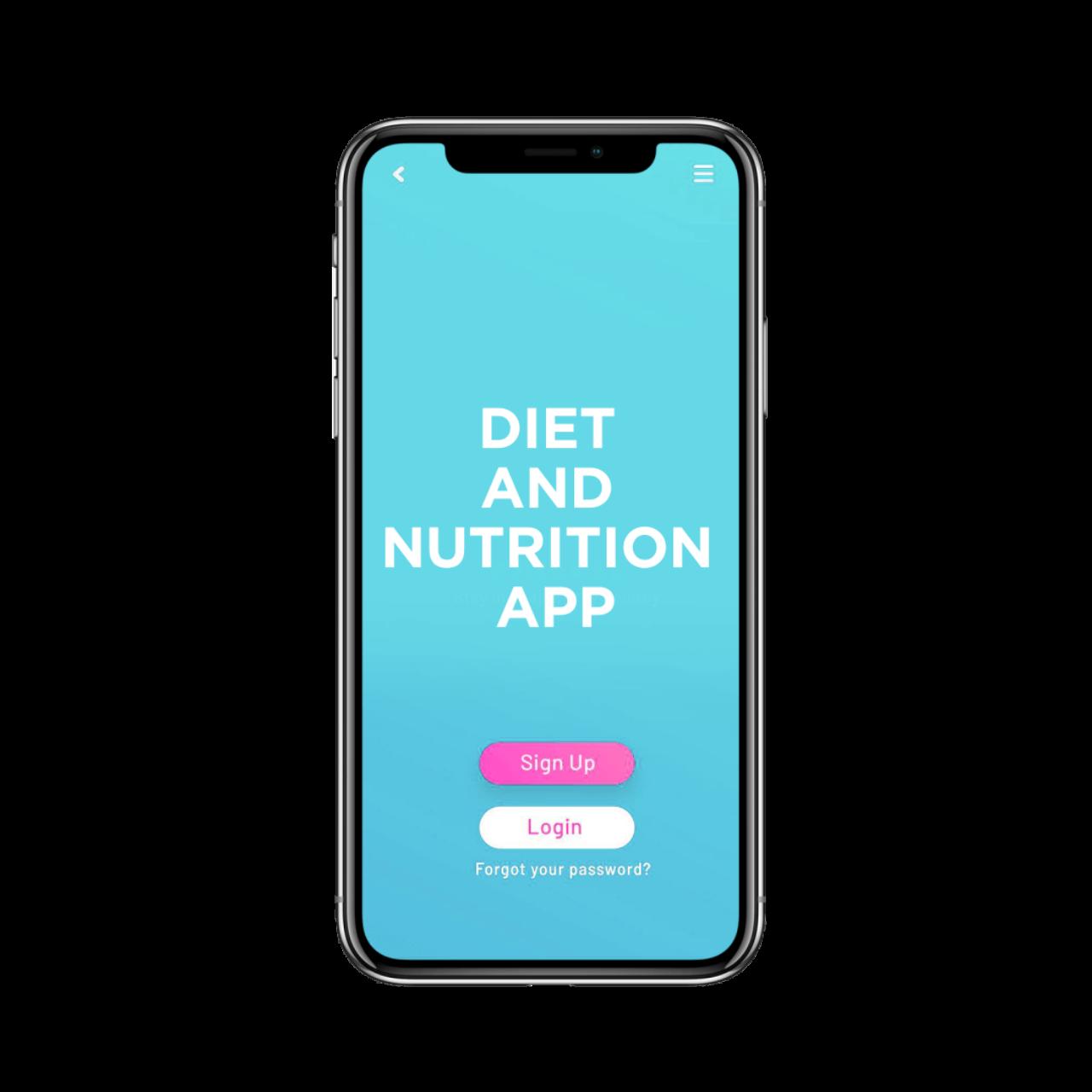 Diet and nutrition app development - login